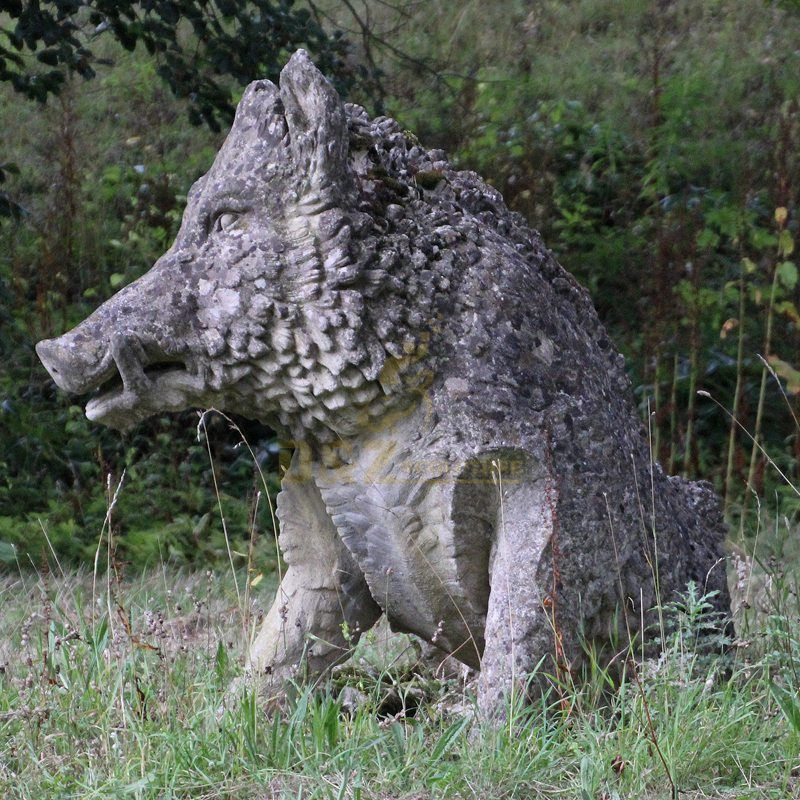 Life size brass garden wild boar sculpture