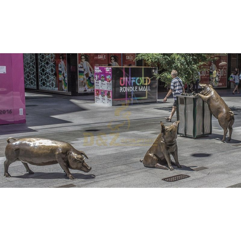 Park decorations copper wild boar outdoor sculpture