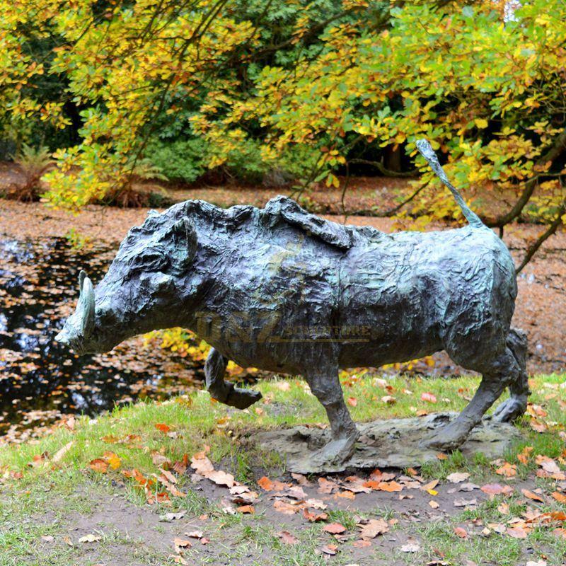 Outdoor bronze wild boar large modern sculpture