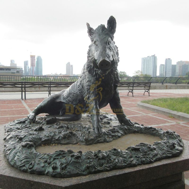 New products life size bronze wild boar statue made in d&z manufacturer