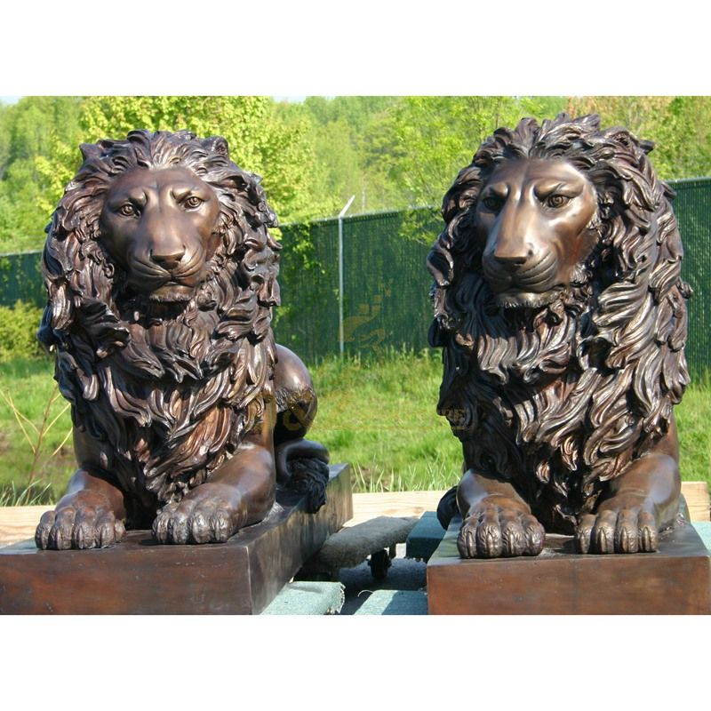Large life size bronze lions statue on sale