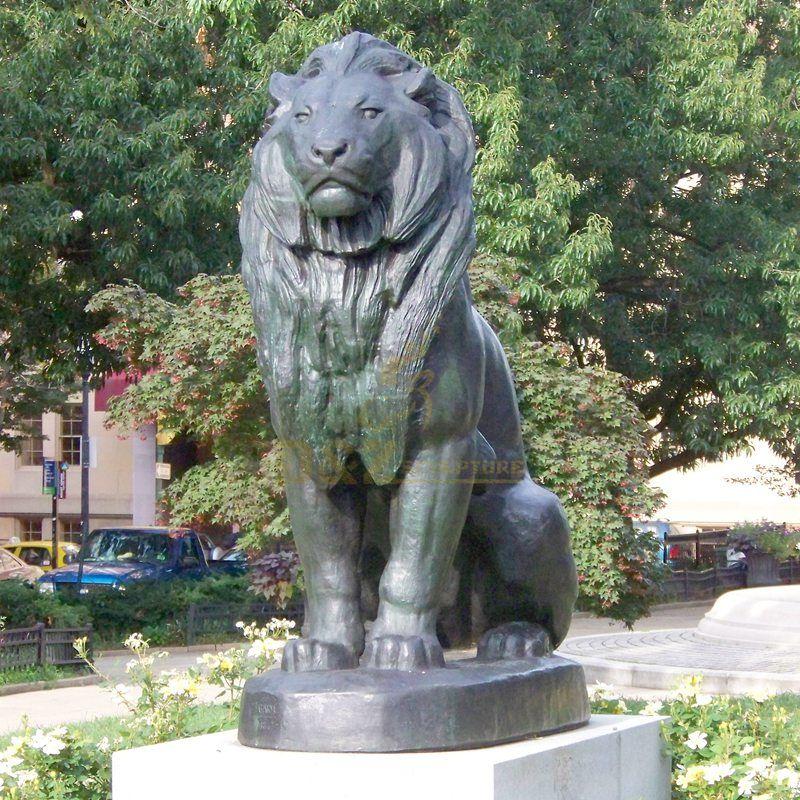 Outdoor lion statue brass bronze sitting lion sculpture