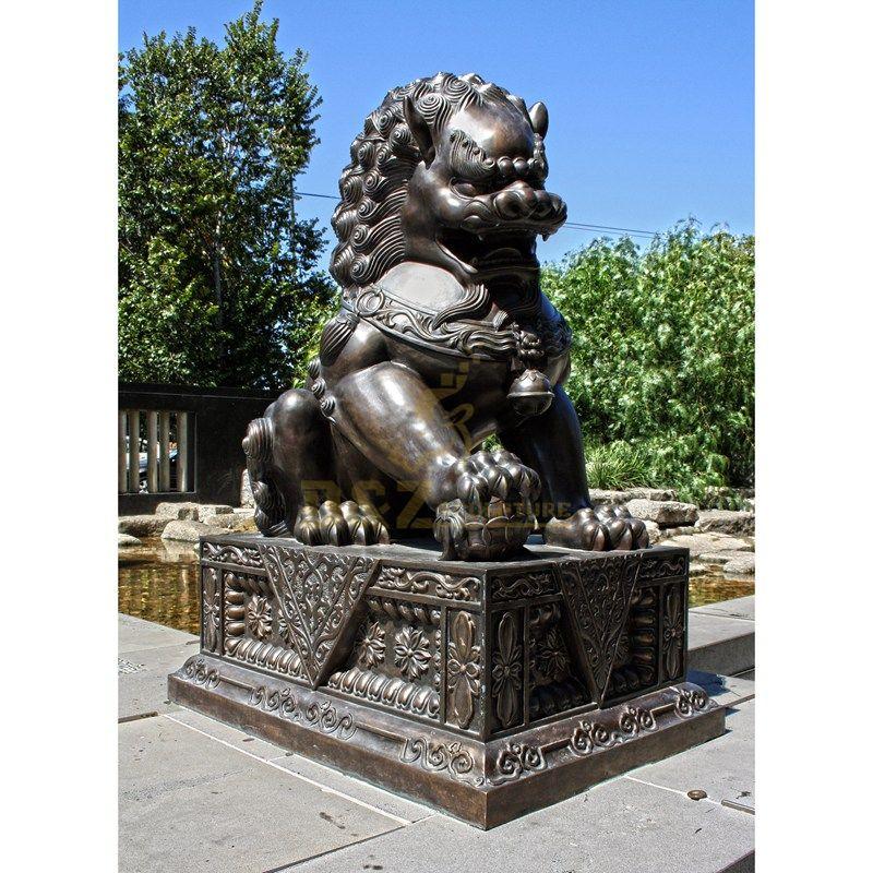 Large antique bronze foo dog statue lions sculpture for sale