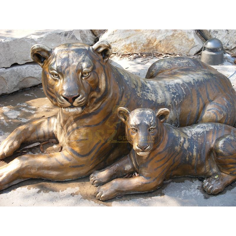 Hot Selling Garden Outdoor Life Size Copper Bronze Tiger Sculpture