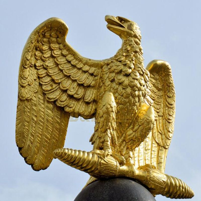 Custom antique bronze metal sculpture of eagle