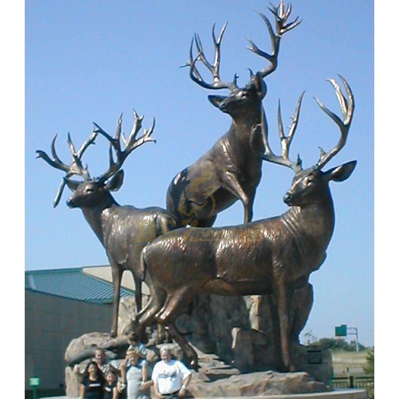 Bronze art casting standing elk sculpture