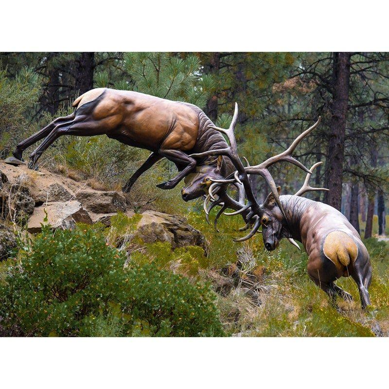 Life Size Fighting Bronze Deer Elk Sculpture