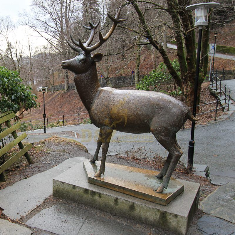 Bronze Deer Statue Large Metal Elk Garden Sculpture