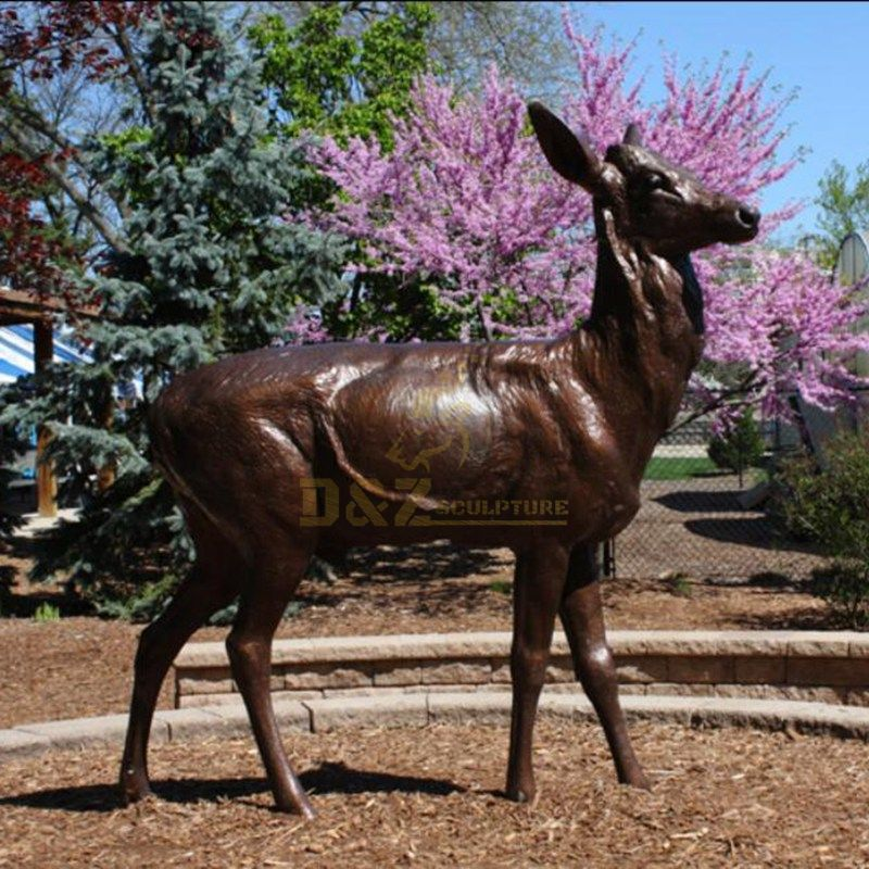 Outdoor decor brass bronze life size deer sculpture