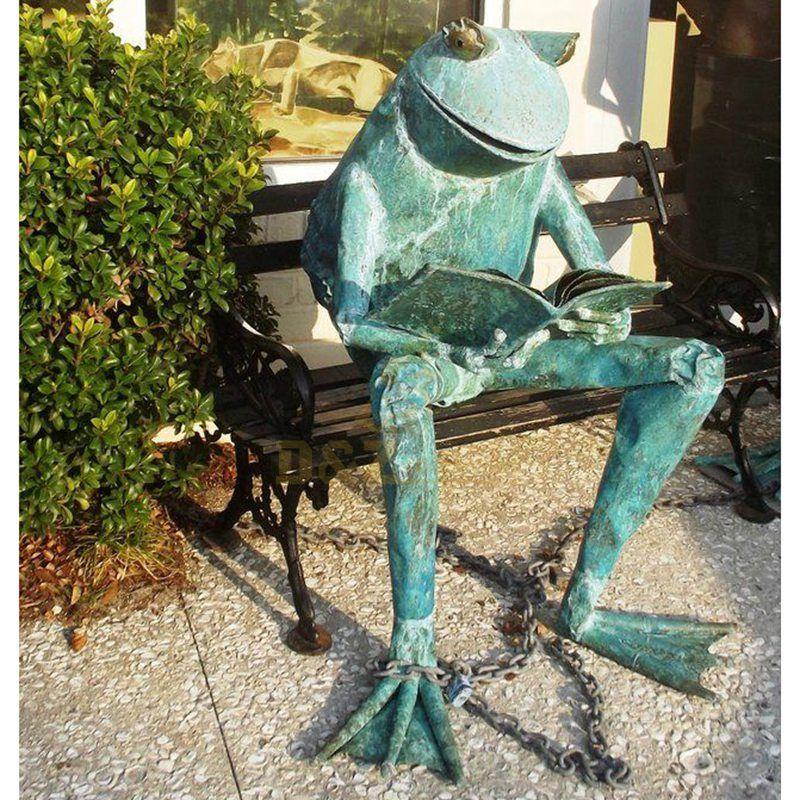Cute Bronze Frog Prince Sculpture