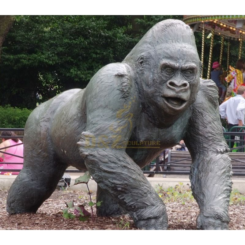 Life size bronze gorilla sculpture animal statue