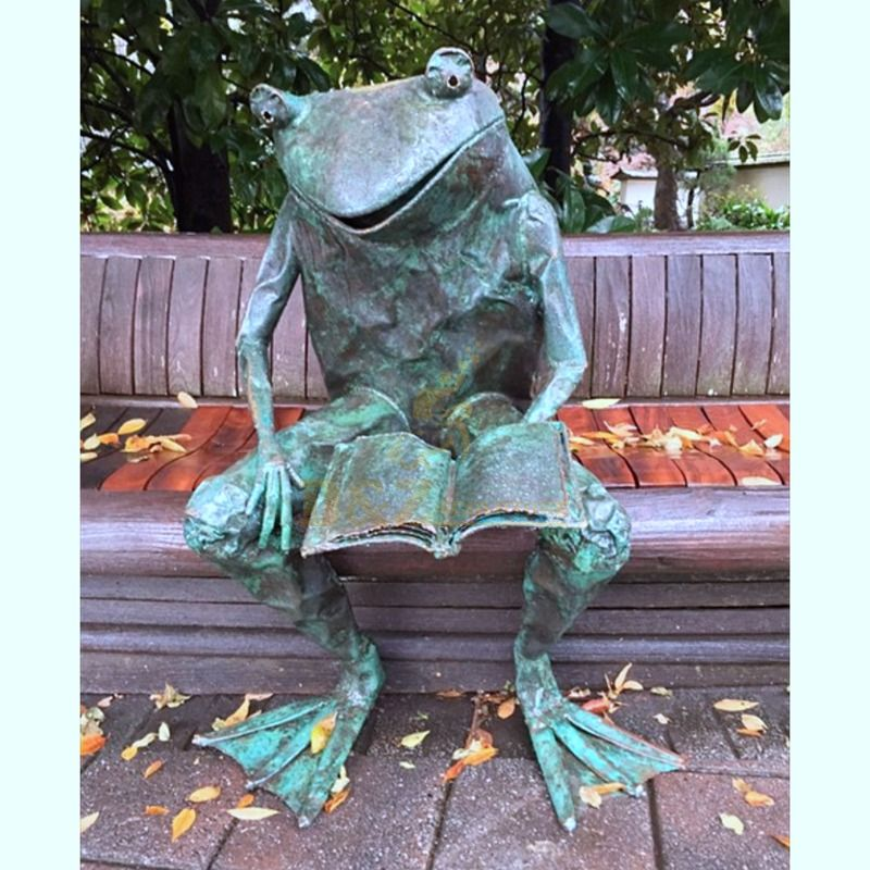 Casting Finish Garden Decor Statues Bronze Frog Sculpture