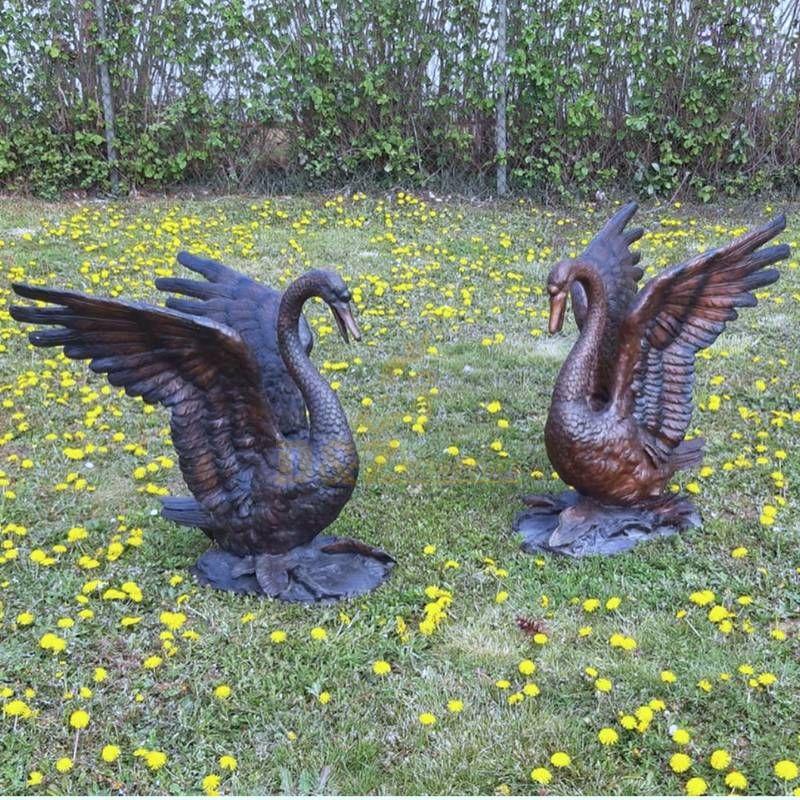 Bronze outdoor swan sculpture on sale