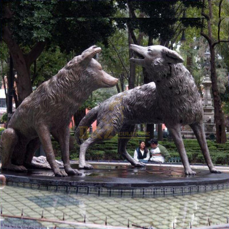 Metal Craft Life Size Brass Bronze Wolf Sculpture