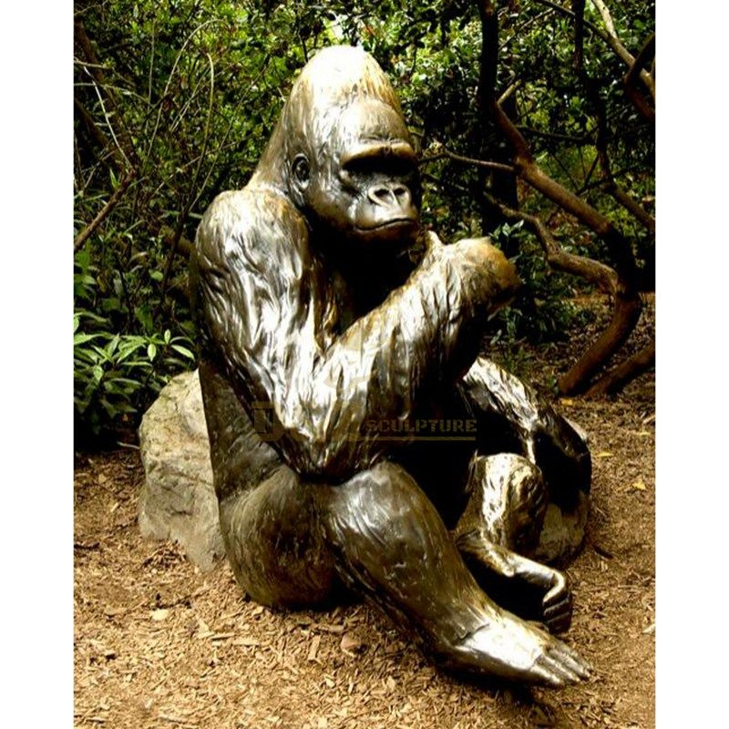 Metal craft bronze Gorilla sculpture