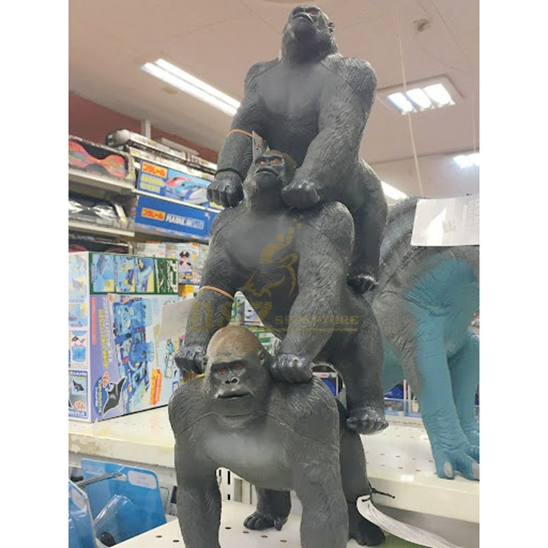 Large outdoor life size bronze gorilla statue