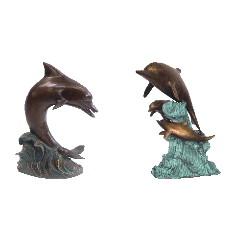 life-size Garden Decoration bronze Dolphin Statue