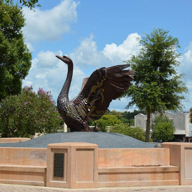 winged swan statue