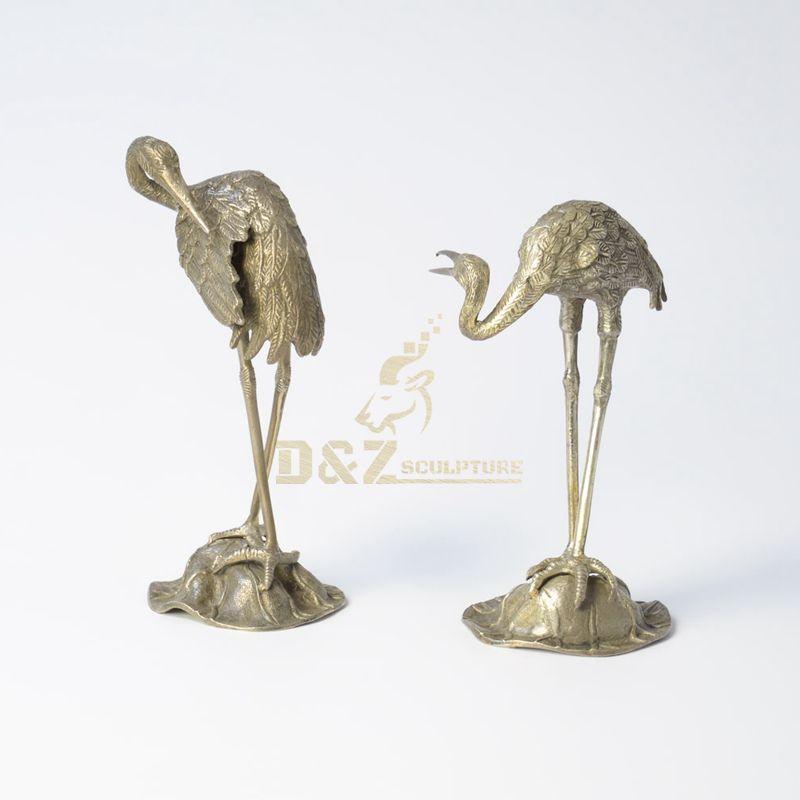 Large bronze statues crane birds metal animal sculpture