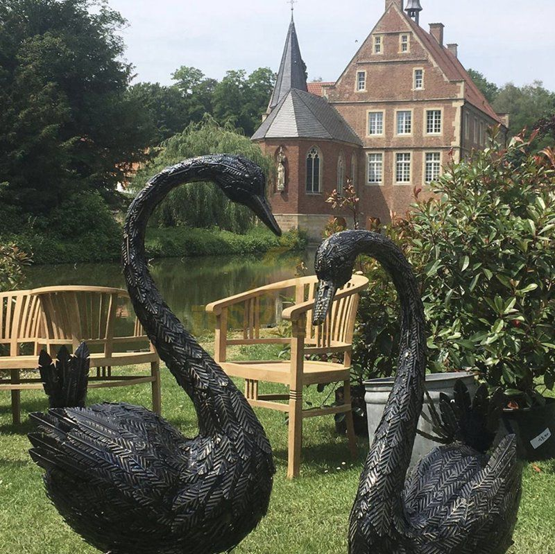 Bronze  black swan statues for sale