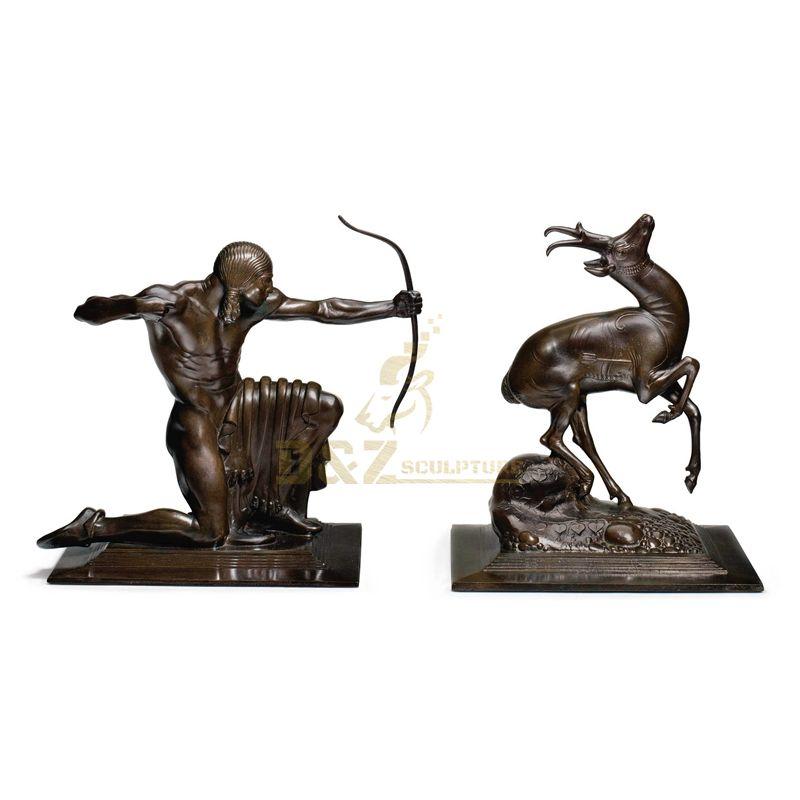 Life size bronze garden antelope hunter statue for sale