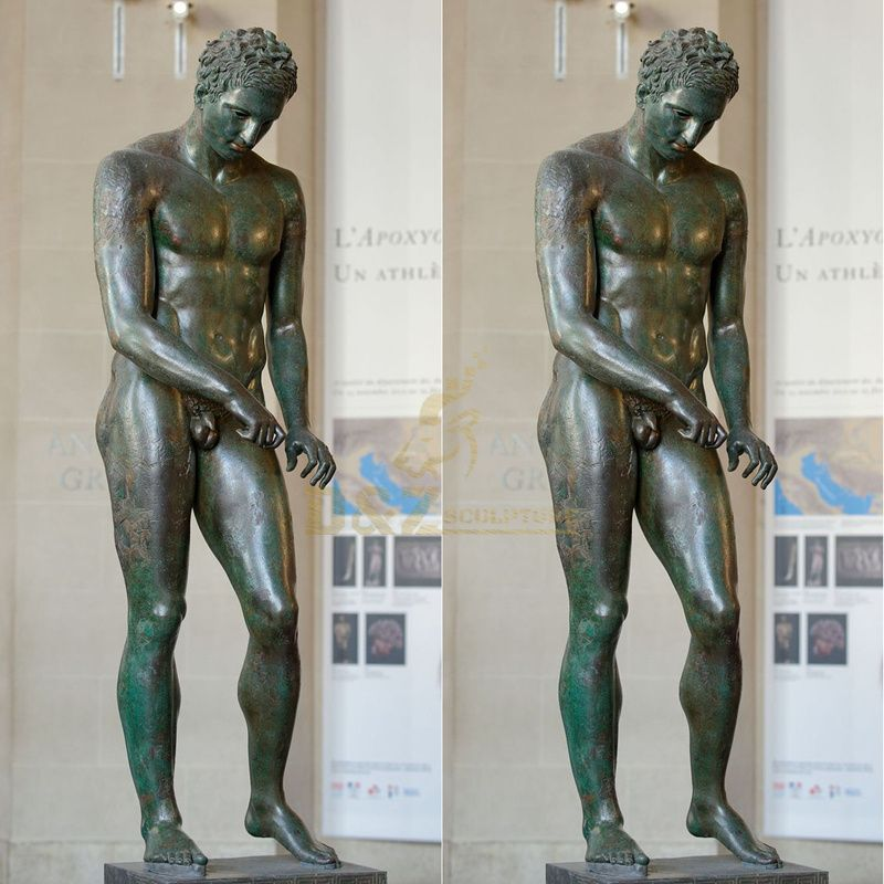 Male outdoor decorative figure running athlete bronze statue