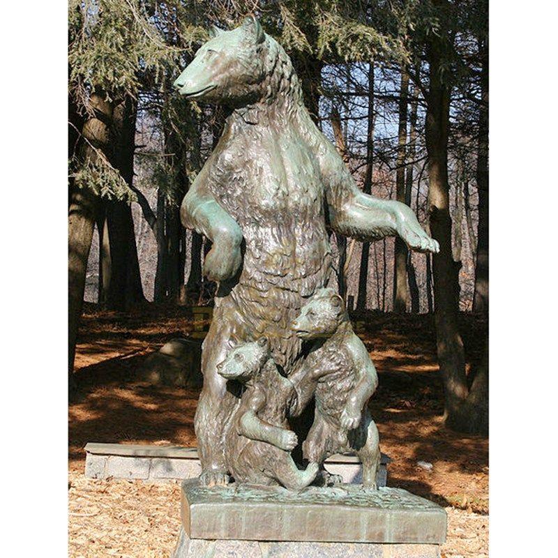 Antique designed bronze standing bear sculpture