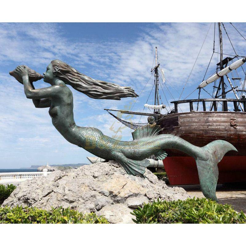 Modern Outdoor Mermaid Bronze Sculpture