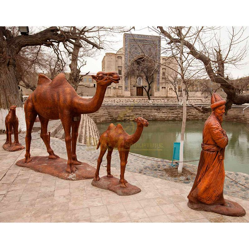 Outdoor Three Life Size Bronze Camel Sculpture