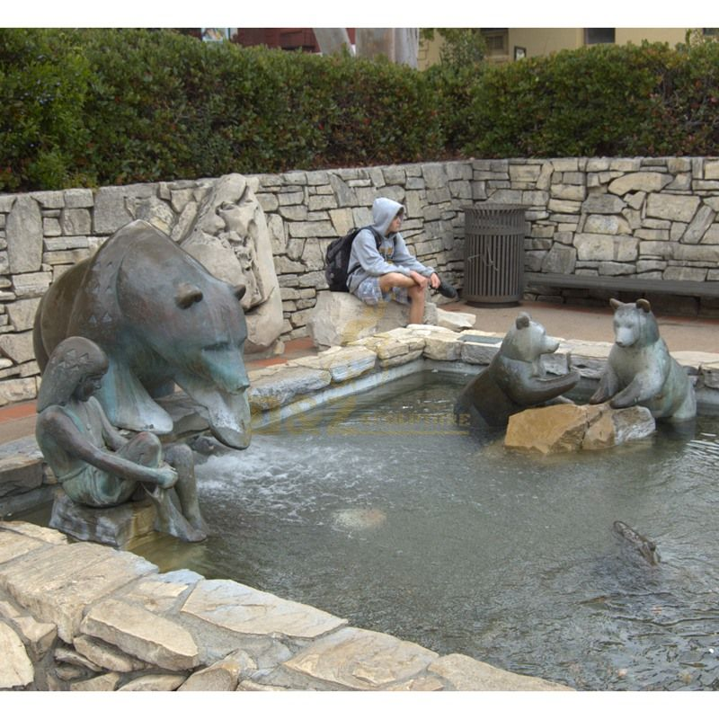Popular Design Garden Decor Statue Bronze Bear Fountain Sculpture