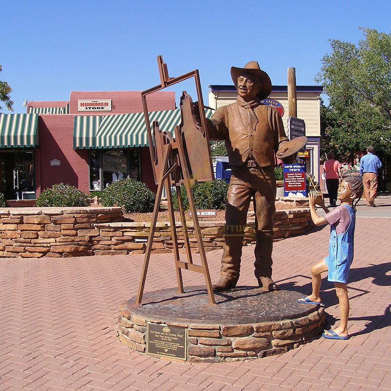 famous outdoor art decor casting life size Western bronze cowboy statue sculpture
