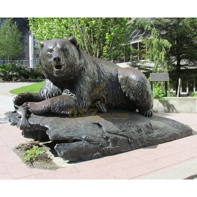 Life Size Brass Outdoor Bear Statues