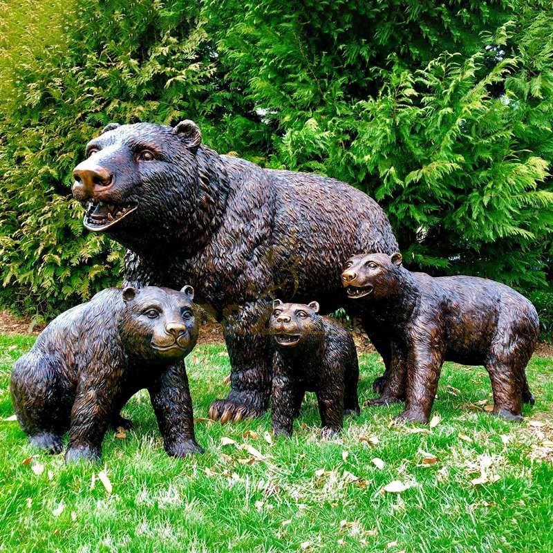 Cast Sculptures Metal Craft Bronze Bear Figurines