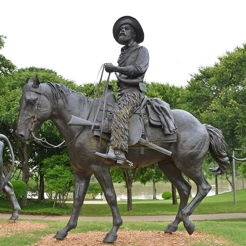 Park Decoration Bronze art Foundry Metal bronze casting sculpture cowboy sculpture on horse