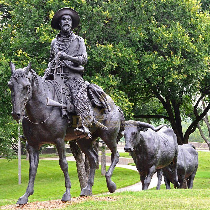 Modern custom small size statue bronze horse and cowboy sculpture