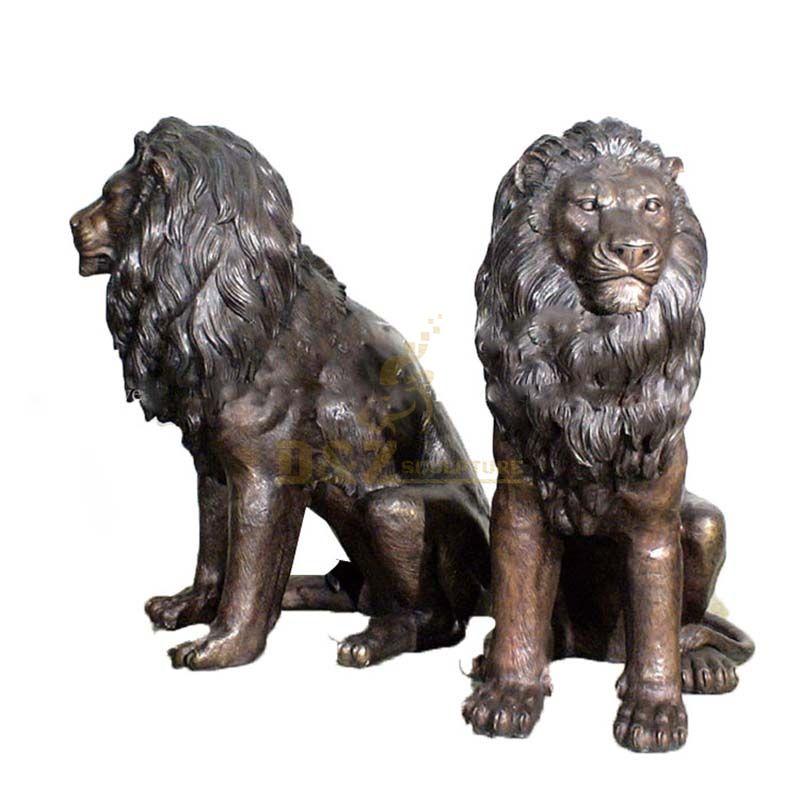 Life size cast garden bronze lion sculptures