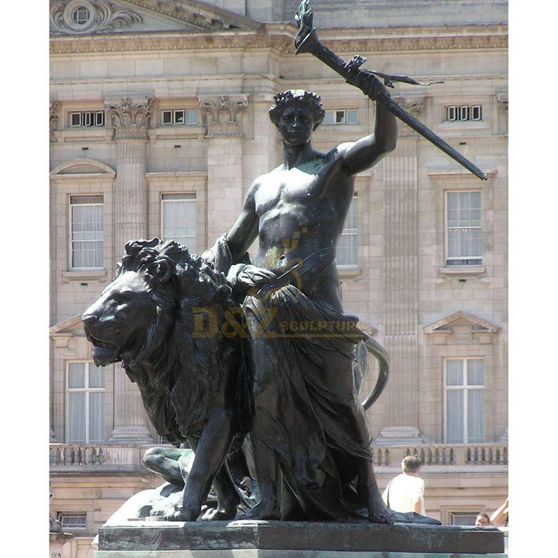 Outdoor park roman figure bronze lion sculpture animal decoration