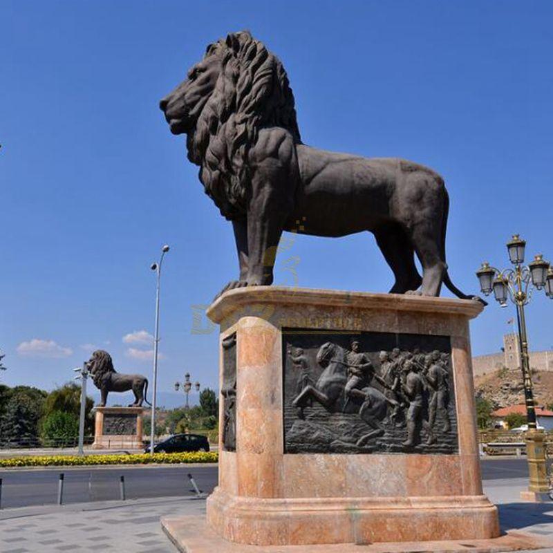 Decorative sculptures animal bronze lion statue