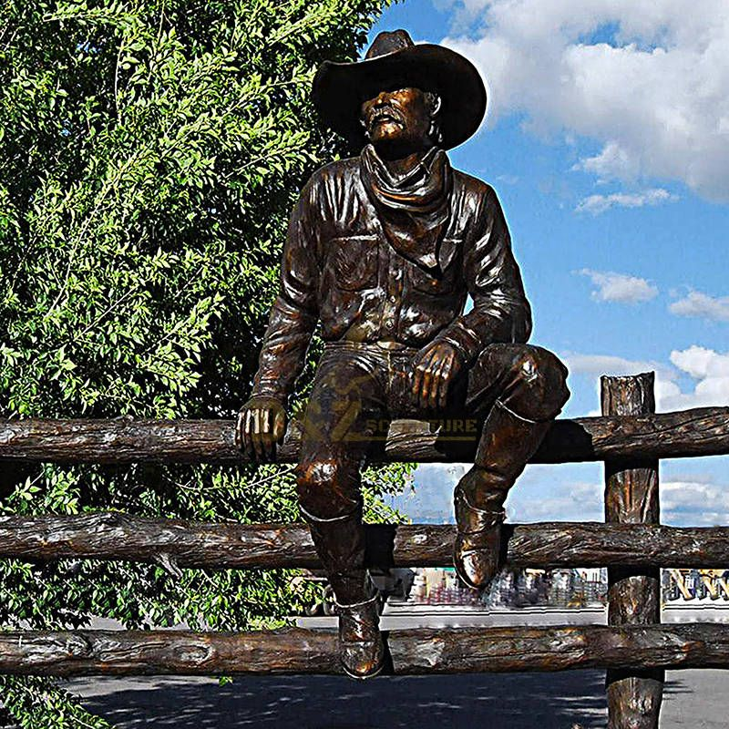 Bronze metal crafts rider cowboy and man riding horse statue sculpture for sale