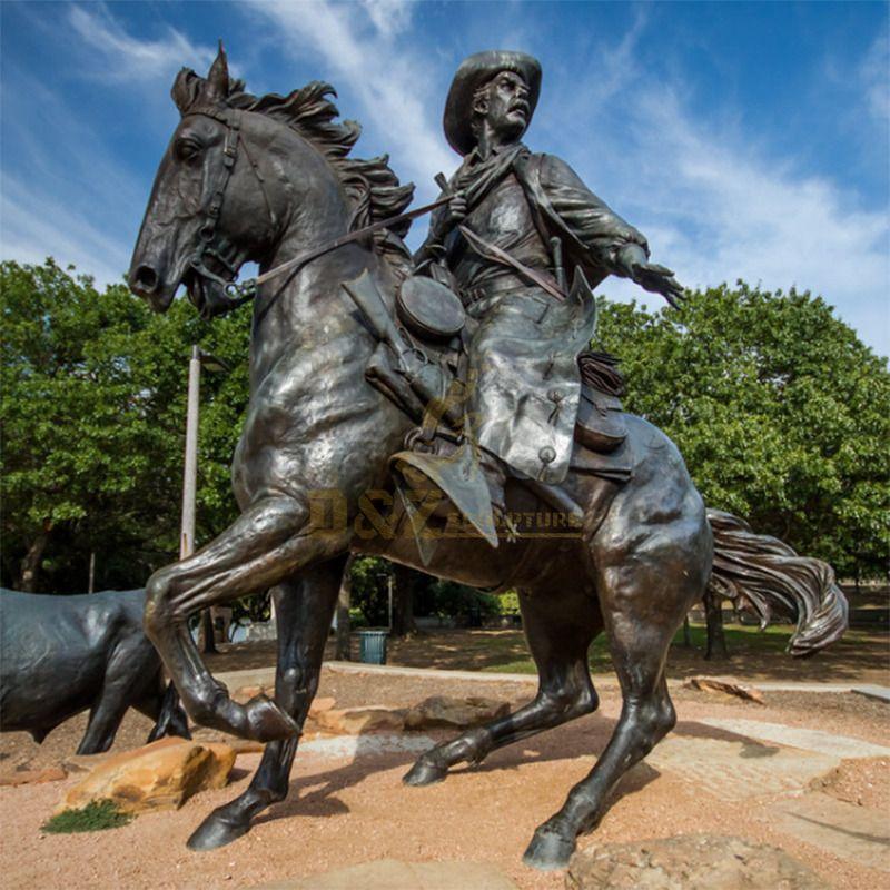 Brass roman man riding jumping cowboy horse statue