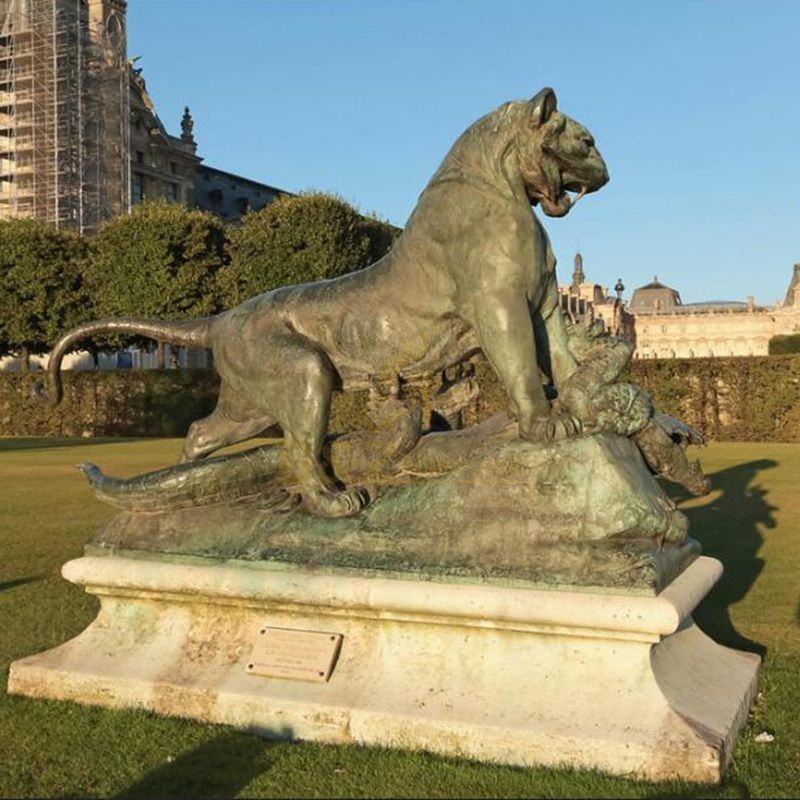 Metal Animal Bronze Leopard Sculpture For Office Decor