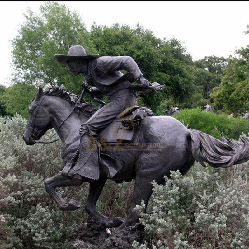 cowboy riding horse statue for Square decoration Manufacturers custom-made cowboy sculpture
