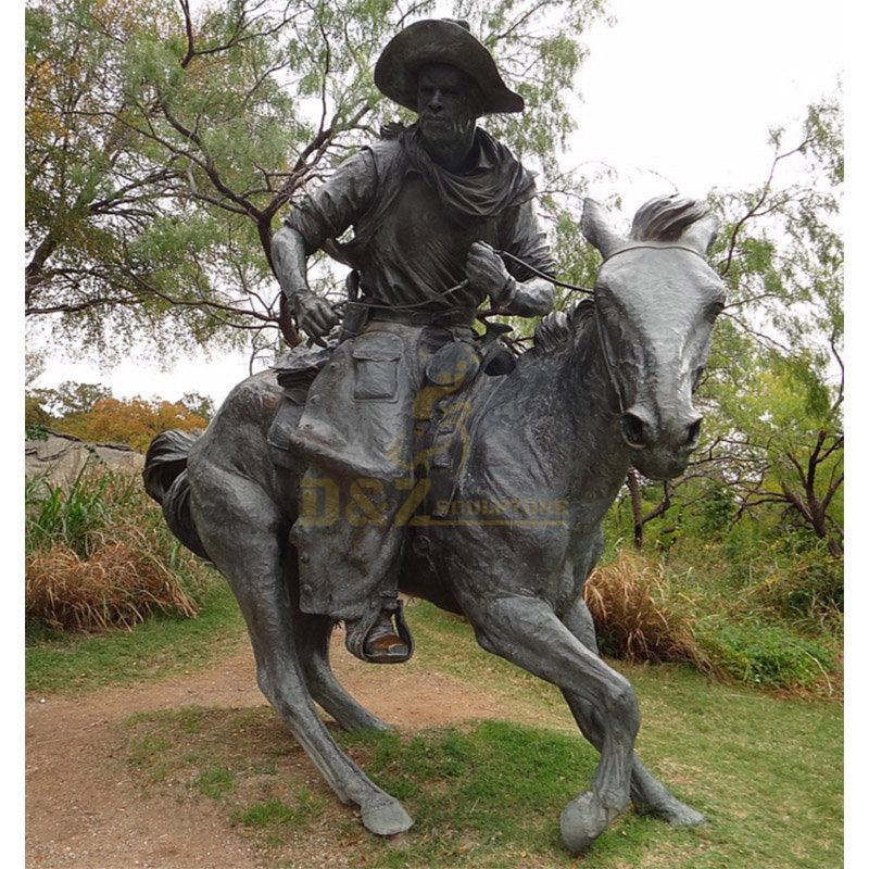 Western Life Metal Craft Cast Bronze Cowboy on Horse Statue