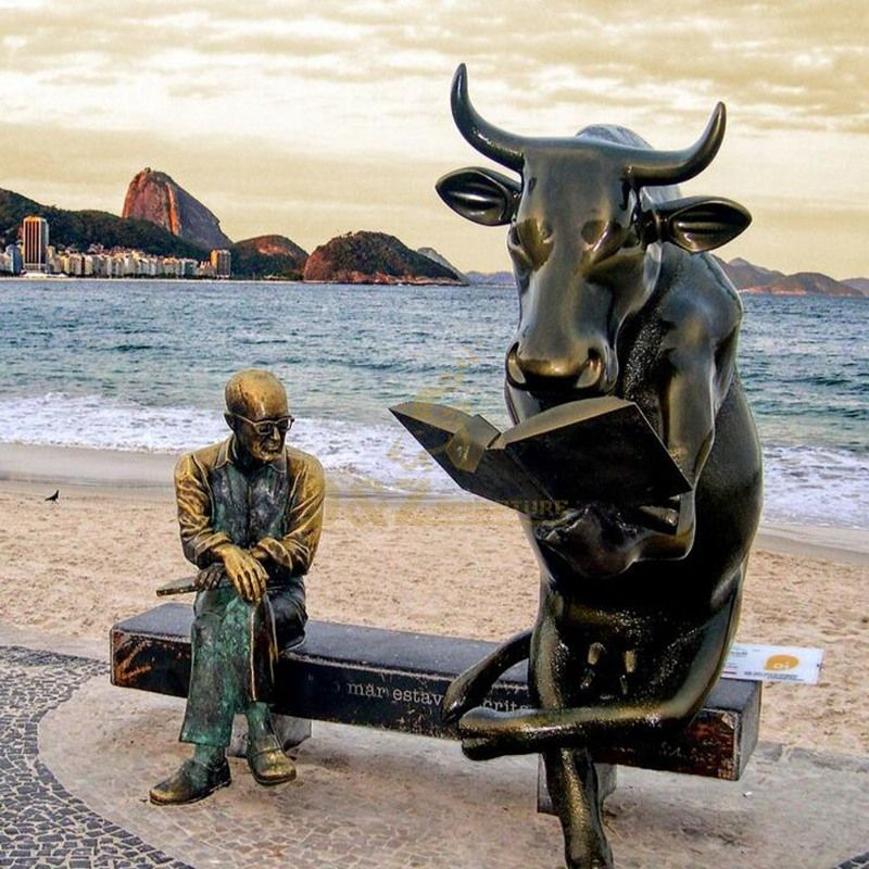 Bronze bull statue park bench character sculpture