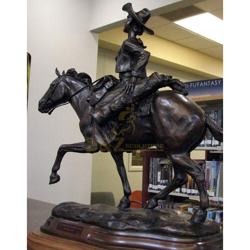 Outdoor pop metal casting cowboy bronze riding horse sculpture