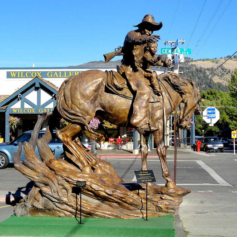 Western classic life size bronze cowboy male sculpture for sale