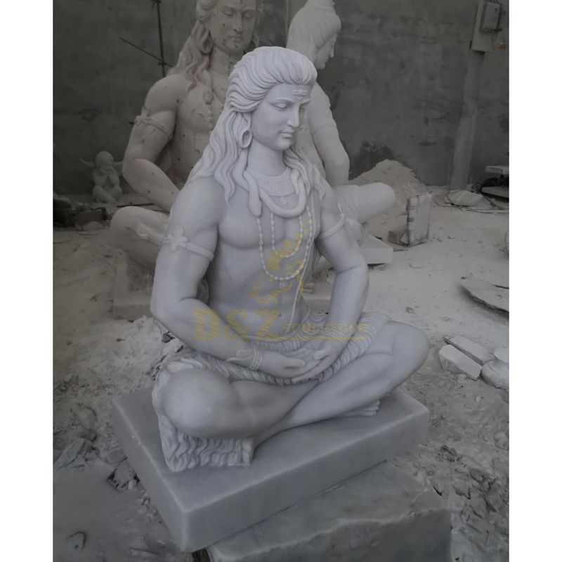 Outdoor Antique Life Size Indian Stone Lord Shiva Sculpture Marble Hindu God Statue