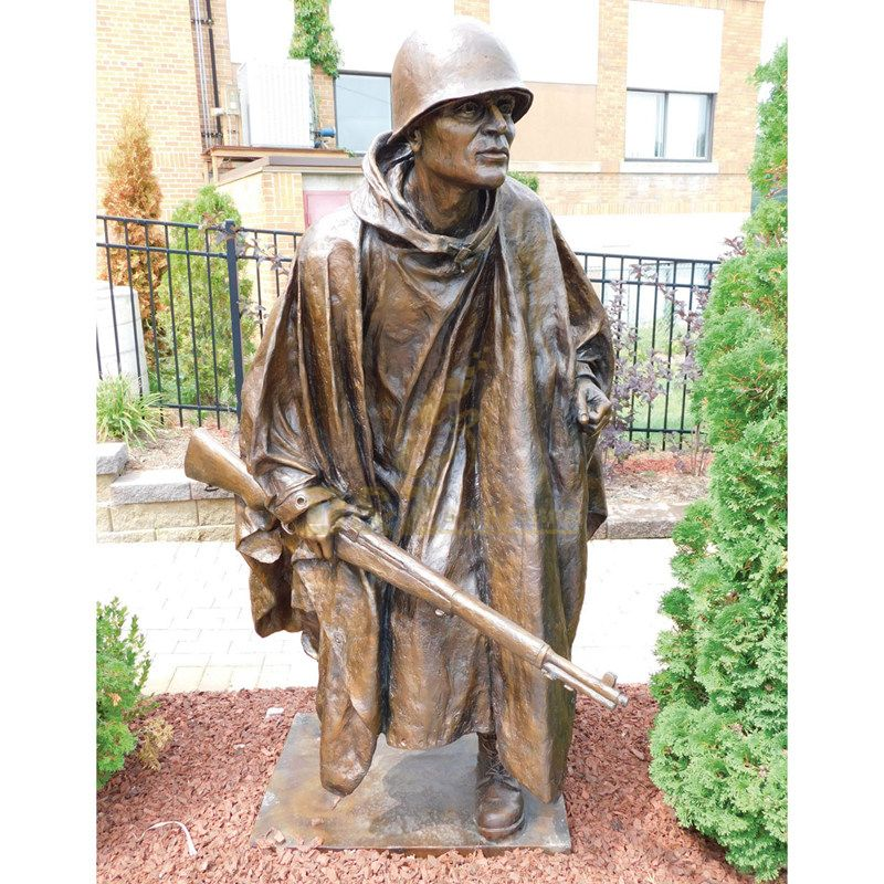 life size park small decor large size bronze soldier statues
