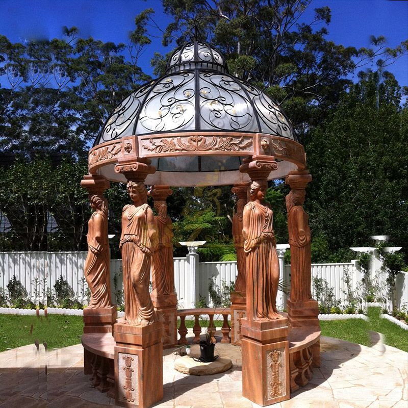 Hand Carved Marble Figure Gazebo For Garden Or Outdoor