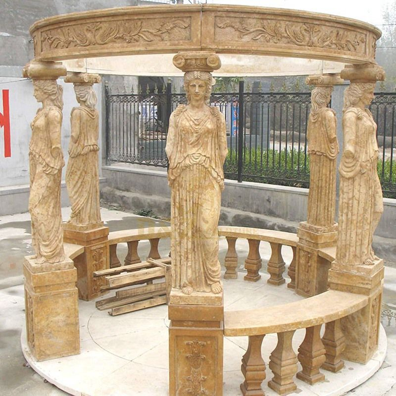 Outdoor Decorative Carved White Marble Stone Gazebo For Sale